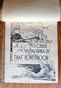 pen and ink drawn title page showing mermaids pulling boat