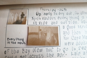 written page with photos
