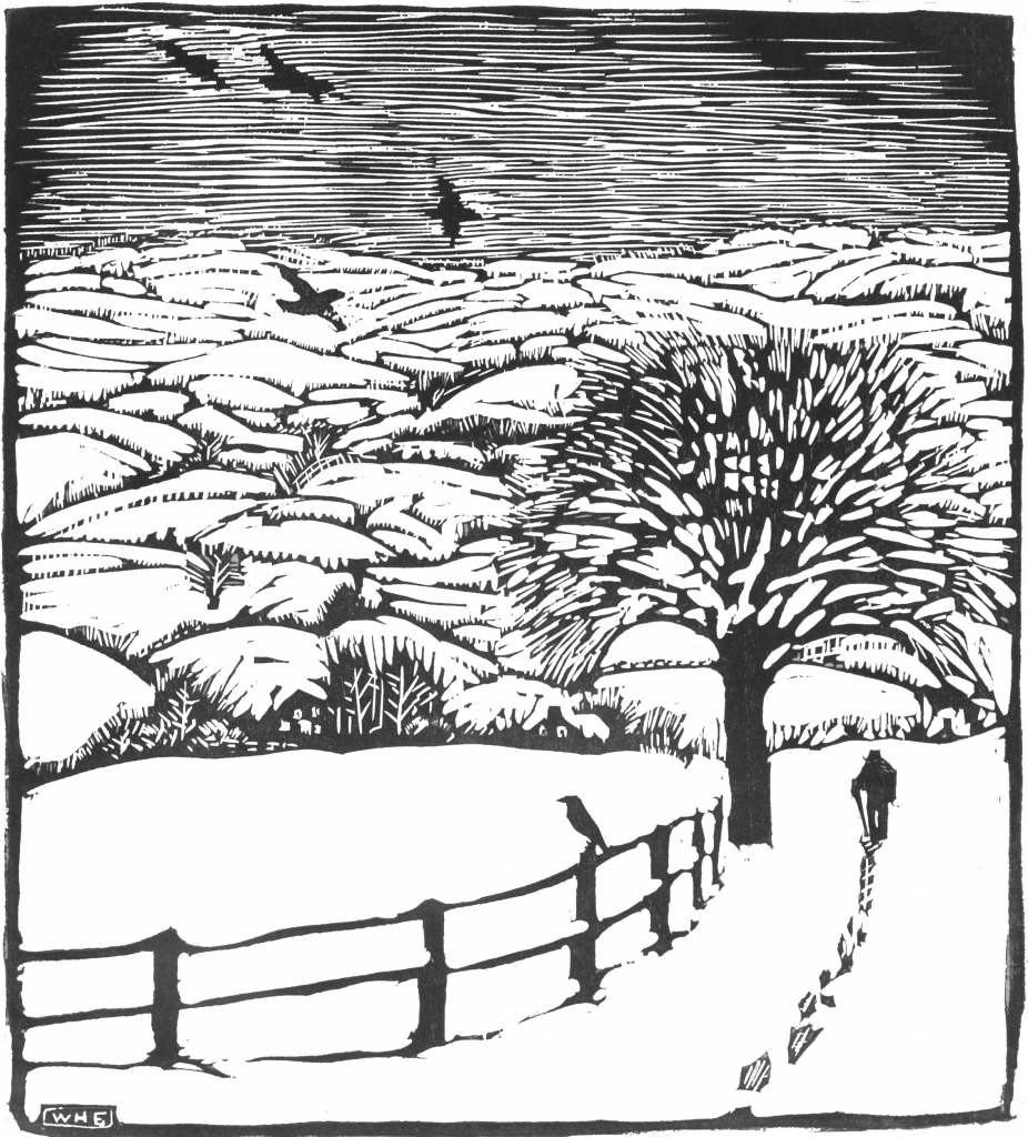 black and white woodcut shows a person walking away in the snow. there is a tree with bare branches and a fence. one bird sits on the fence and others are in flight.