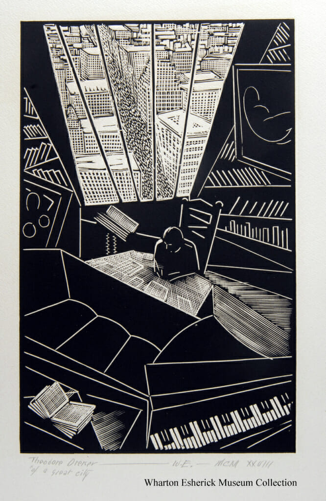 woodcut of aerial view of man in an apartment