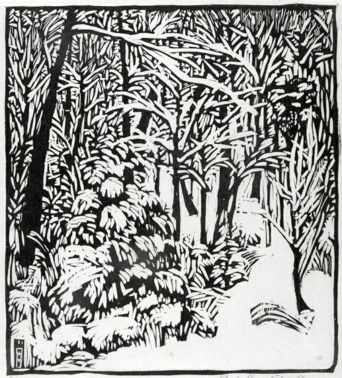 Wharton Esherick Woodblock Print - February