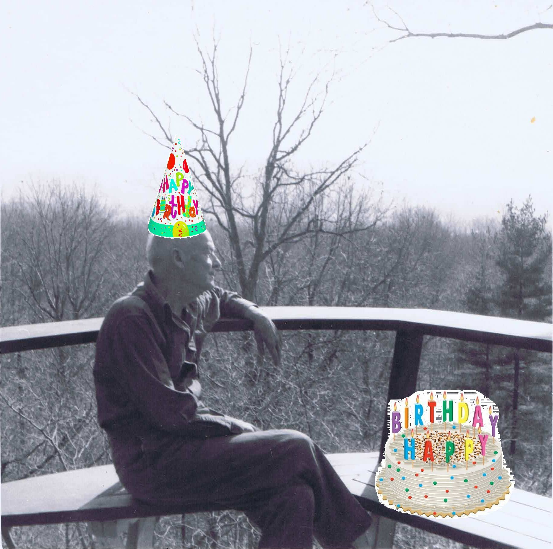 wharton with photoshopped birthday cake on the deck