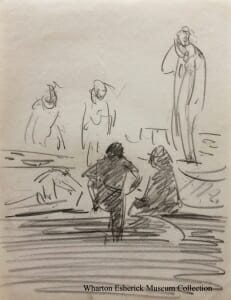 Loose pencil sketch of five figures talking, two shaded with backs to the viewer, the other three on a theatre stage.