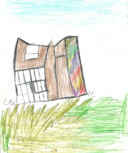 colored pencil sketch of brown Studio building with rainbow colored silo on green grass.