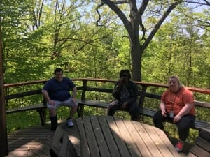 Three artists sit on a deck overlooking the woods