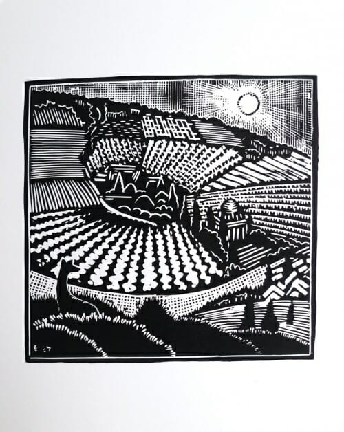 black and white woodcut image of deer in foreground looking out over farmland.