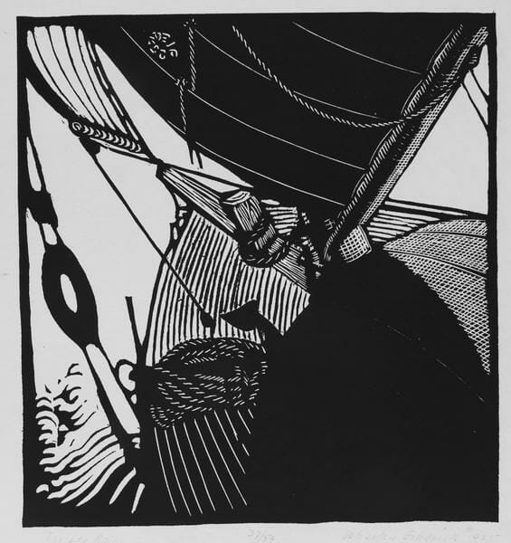 black and white woodcut image of the front of a sailboat as through you are standing on the boat