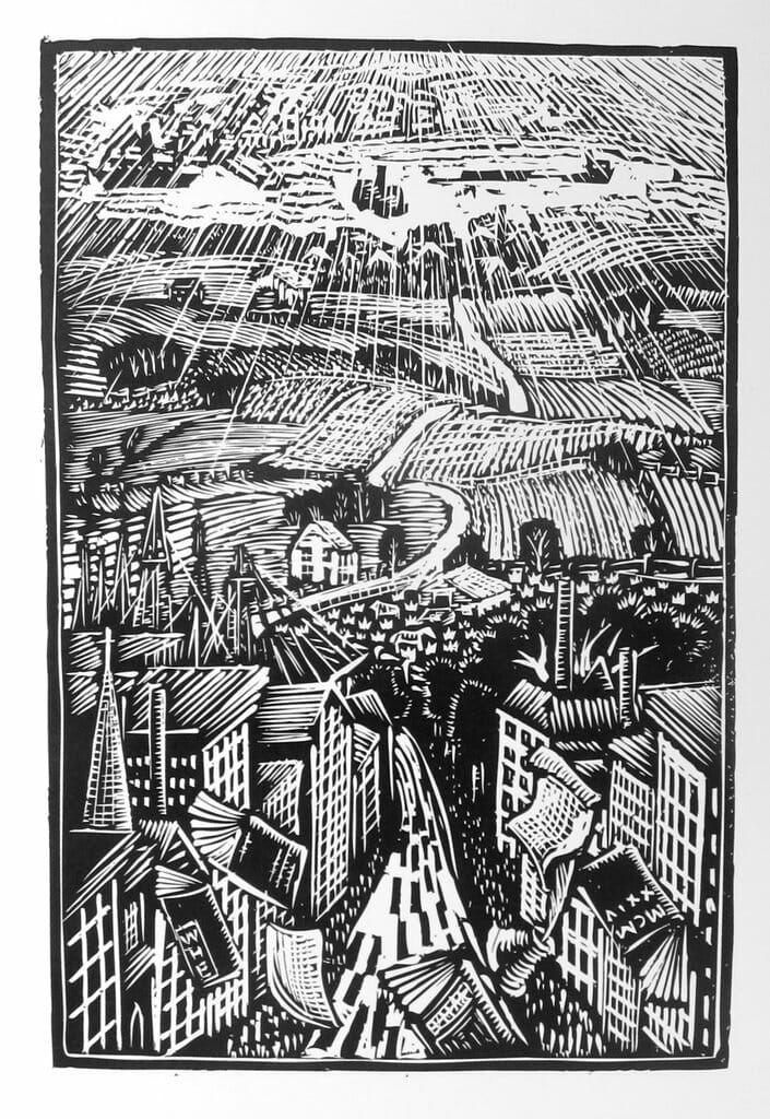 black and white woodcut image of city in the foreground and road leading over hills to the countryside in the distance.