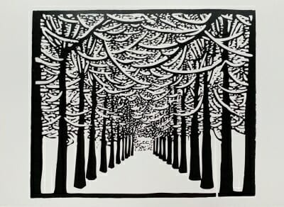 black and white woodcut print of tree-lined drivewayas if you are standing in the driveway looking straight down it.