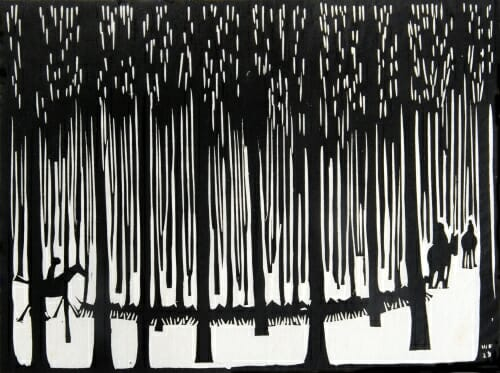 black and white woodcut image of a long line of dogs with horsemen on either end passing through the forest