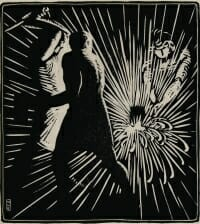 black and white woodcut print of three men striking metal at an anvil