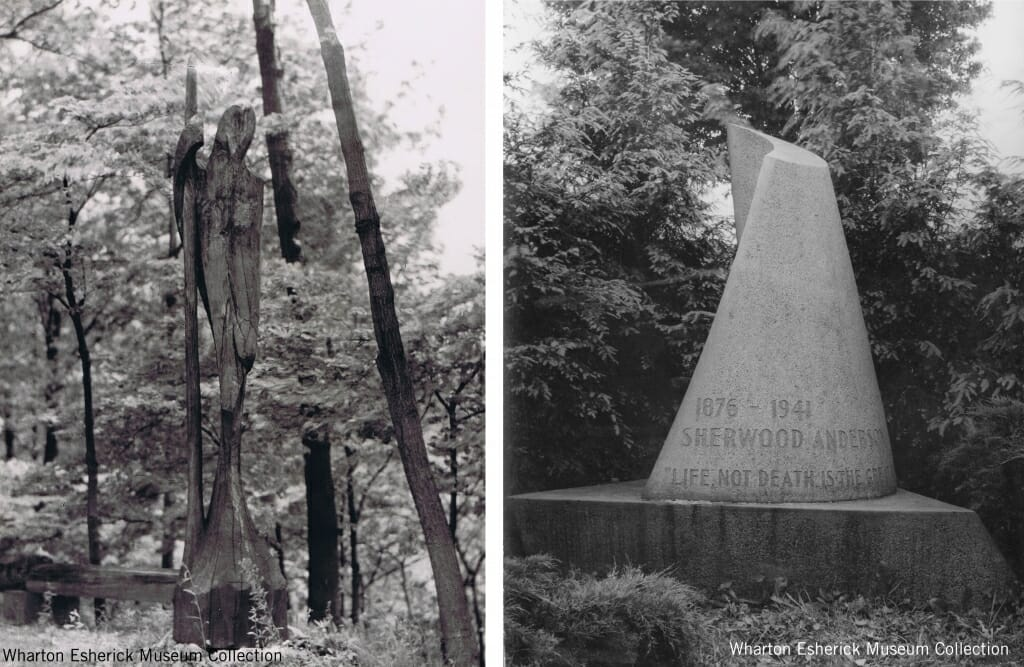 two black and white photos: one of a tall wood sculpture of a man leaning on a staff, and the second of a carved stone marker shaped like a cone with a slight twist.