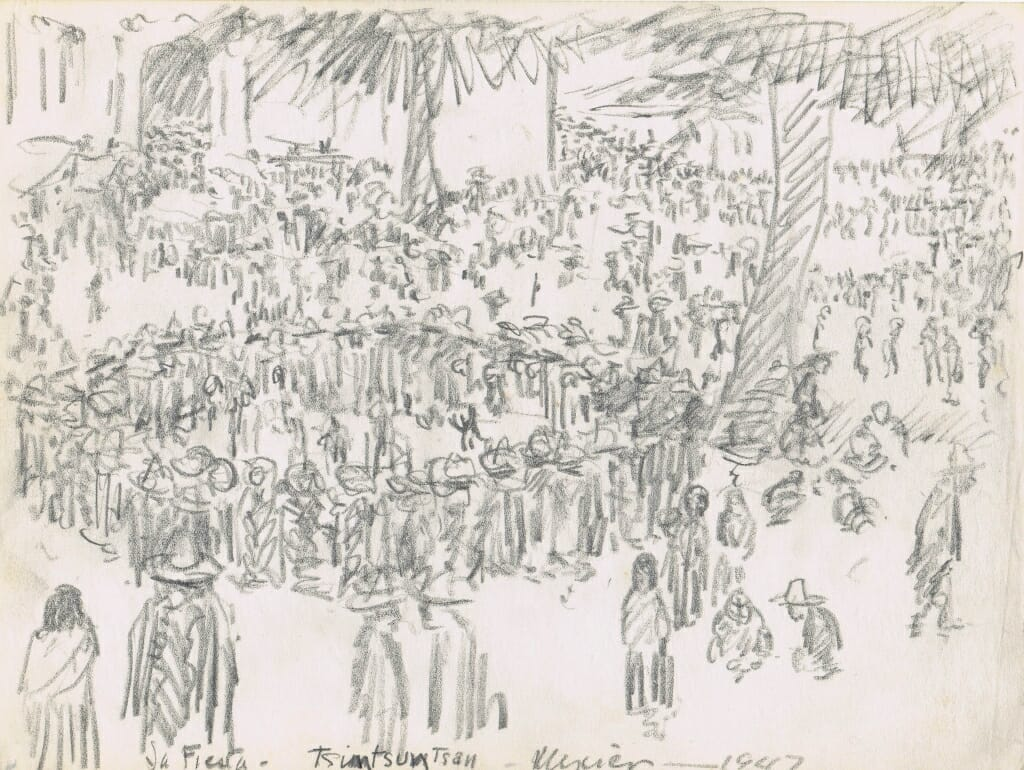 pencil sketch of large gathering with some distant trees