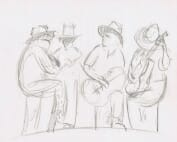 pencil sketch of four musicians with guitars