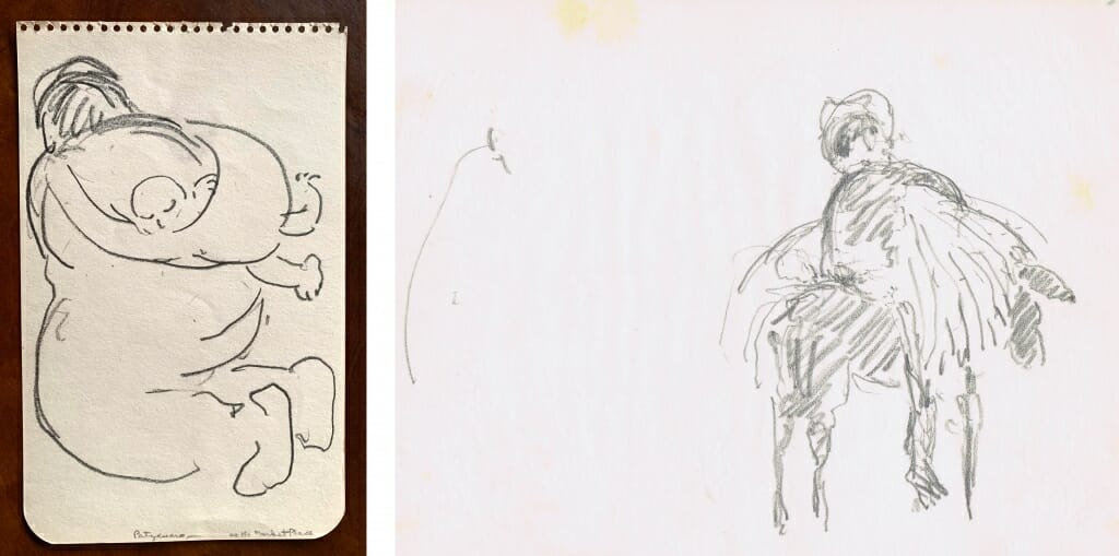 left pencil sketch of woman kneeling with baby on her back, right pencil sketch of man on mule or donkey with bushel.