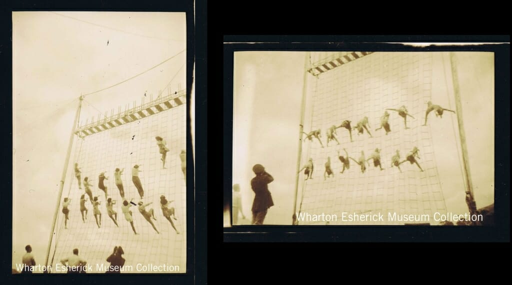 net of rope ladders with women climbing around 40 feet in the air.