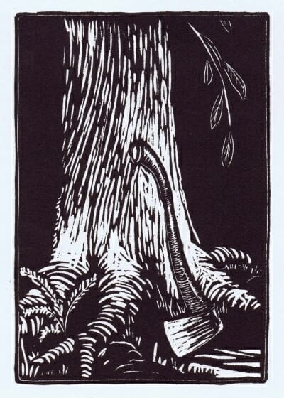woodcut of axe leaning against tree