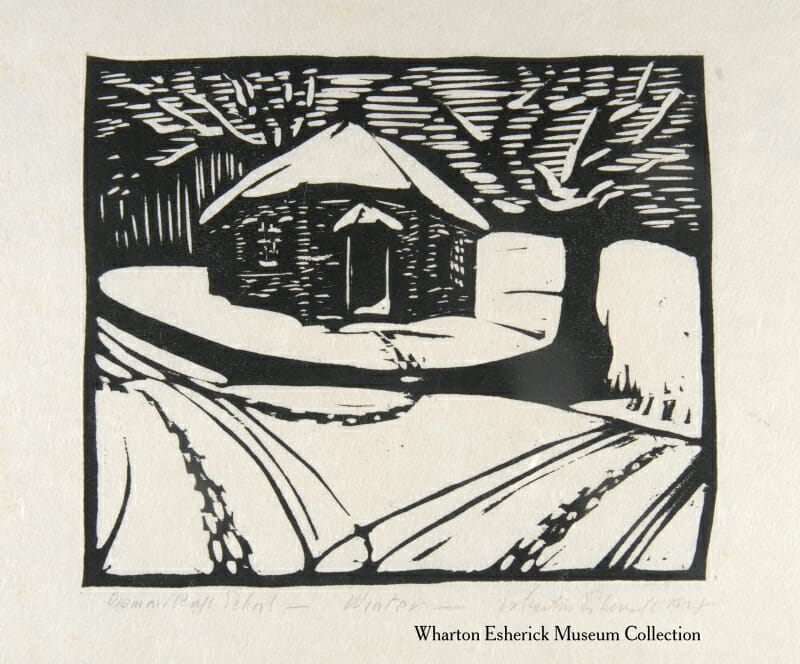 woodcut showing octagonal schoolhouse in the snow