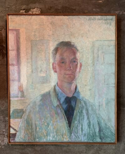 self-portrait oil painting showing Esherick in white painters smock with collar and tie underneath
