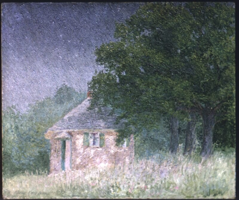 painting showing an evening scene of schoolhouse with large tree to the right
