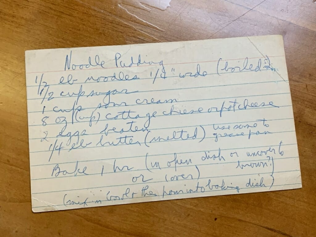 index card with handwritten recipe