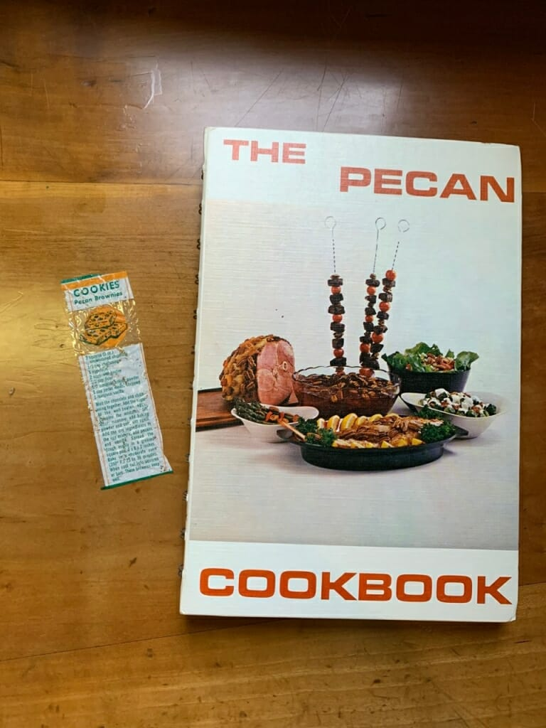 cookbook and recipe on counter
