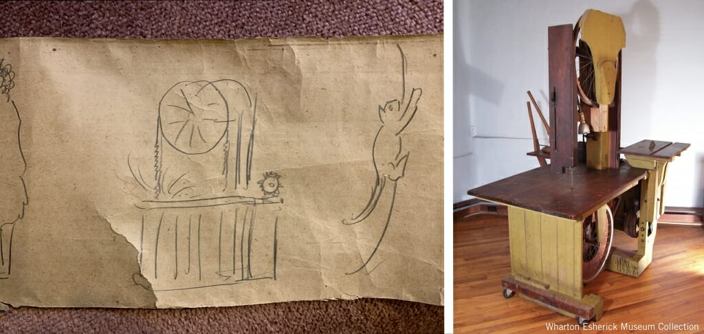 sketch and photo of bandsaw