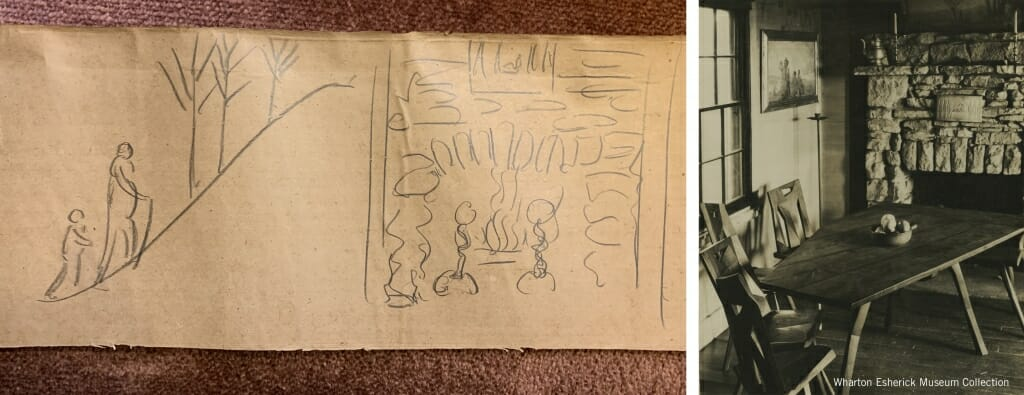 sketch of stone fireplace and photo of fireplace