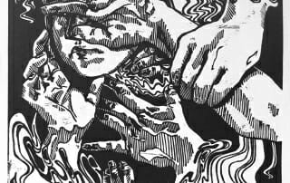 black and white woodcut of woman blocking her face with her hands while other hands reach into the image