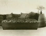 bed with curving dressers