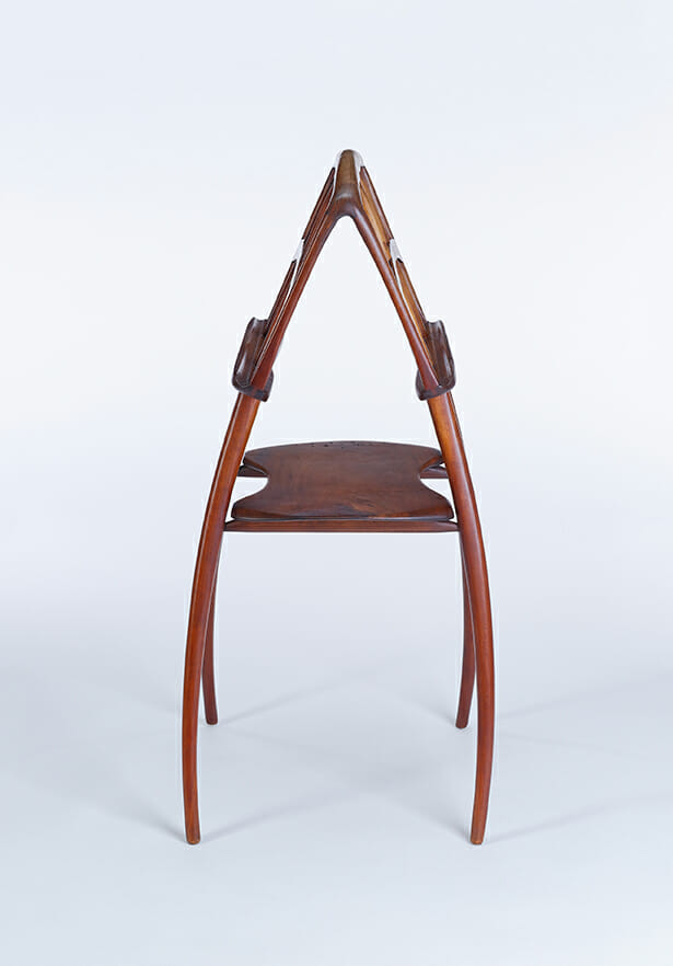 gracefully curving wooden double music stand