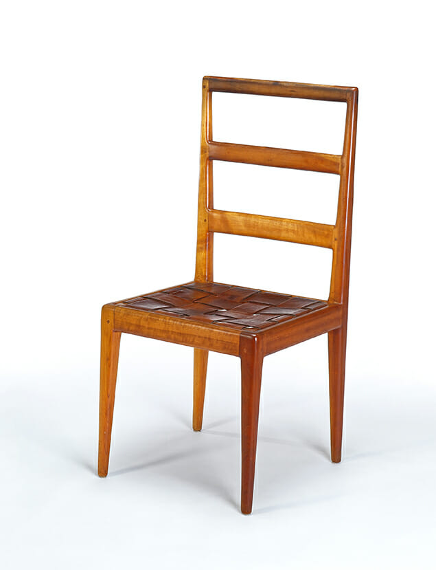 ladderback chair with woven leather seat