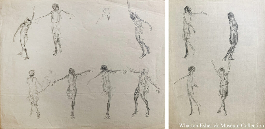 two photos of pencil sketches on paper of dancing figures