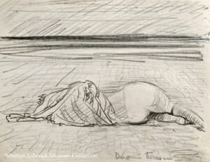 pencil drawing of figure laying on their side with their back to us and a blanket covering their head, shoulders and back. horizon in the distance.