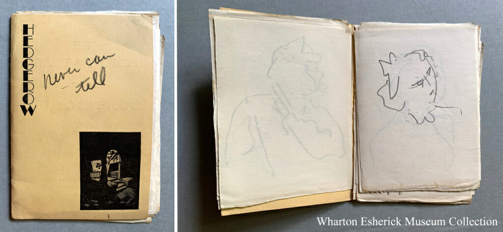 "small playbill shows Hedgerow Theater name and logo on front with woodcut by Wharton Esherick of their front porch and written in pencil ""Never can Tell"". Image on right shows playbill open and many sheets of paper with quick portraits sketched on them."
