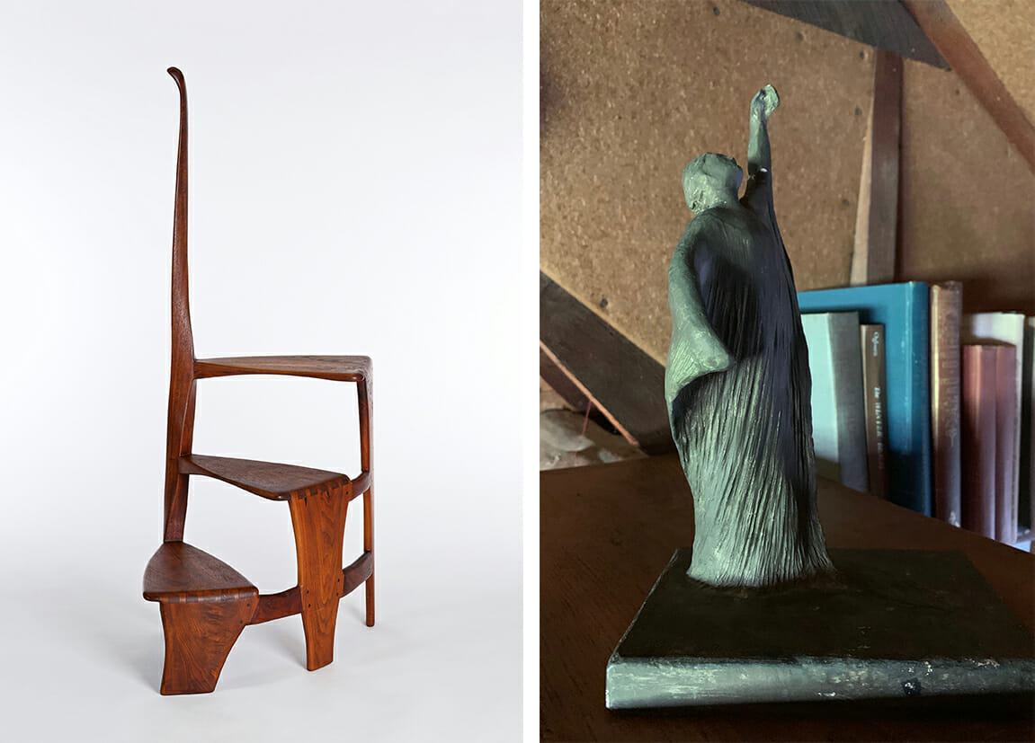 Left image shows white background with wooden three step library ladder. central post spirals as it ascends and three steps spiral as well, reaching about half way up the post. Image on the right shows a small plaster cast sculptures painted grayish green. the sculpture is of a figure in a flowing Grecian gown with left arm raised up toward sthe sky and right arm swirling in towards the body.