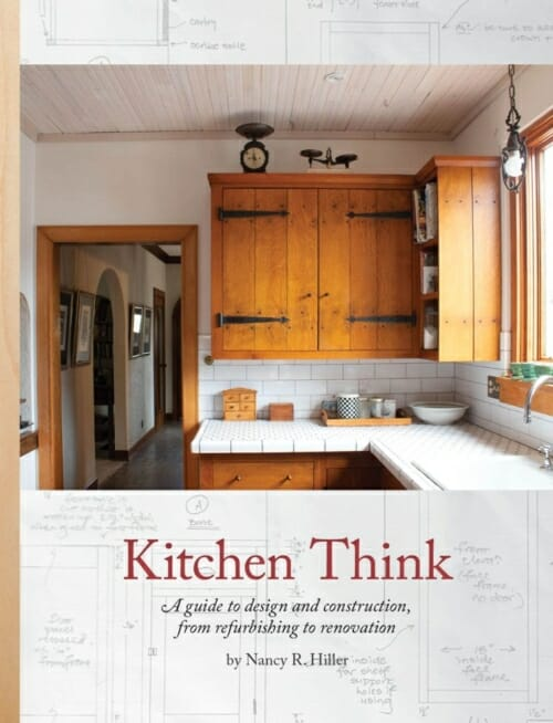 book cover for Kitchen Think showing wood cabinets and white tiled countertop