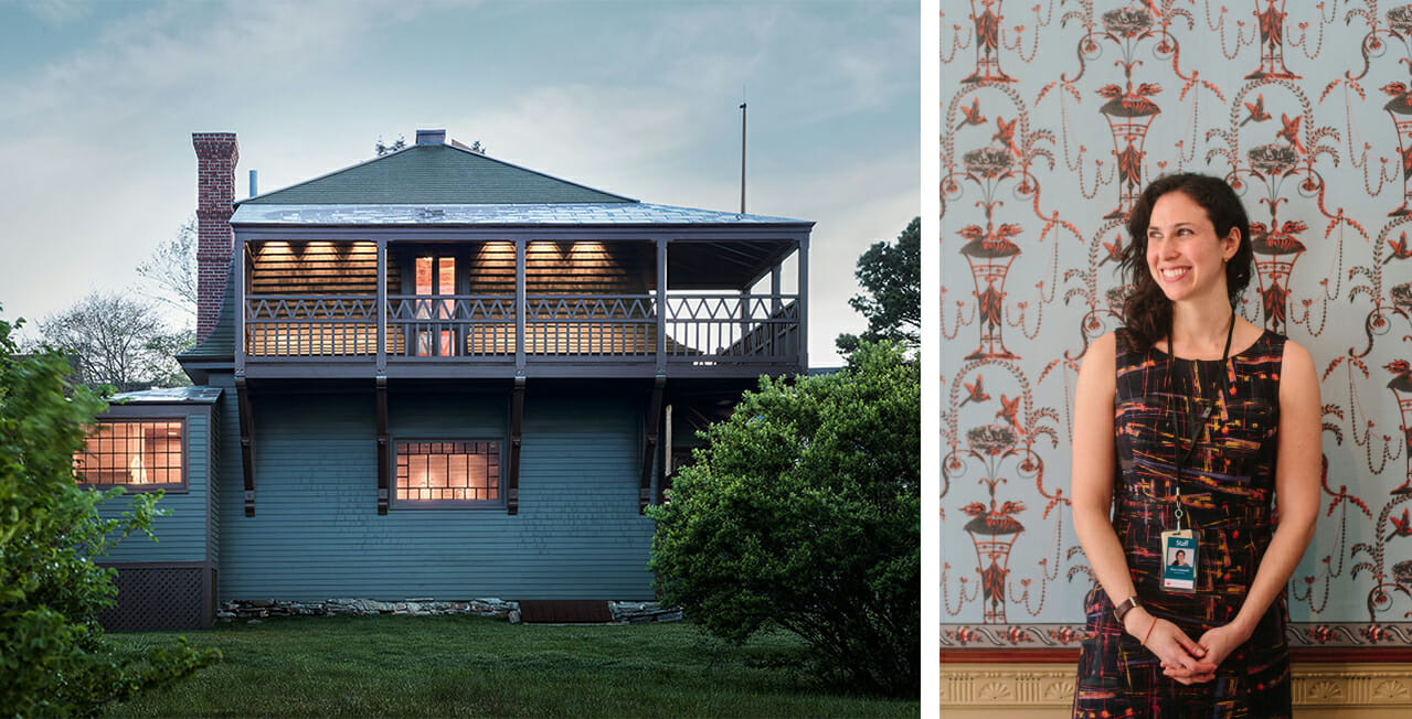 two images side by side. Left image shows two story house at dusk. Lights are glowing from inside and these is a wrap around porch on the second floor. Right image is a woman with long brown hair and fair skin with her head turned to the right wearing a sleeveless patterned dress and standing in front of an ornately patterned wallpapered wall