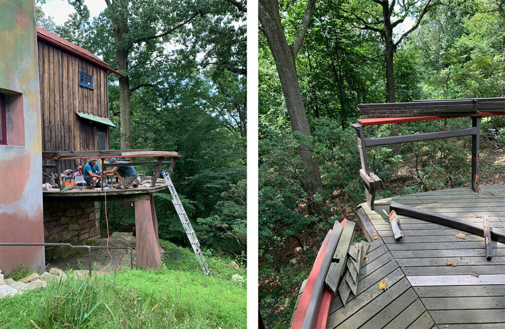 Left image shows curving free-form deck on the Studio with grassy area in foreground. There is a ladder leaning up to the deck and lots of tools on the deck. The right image shows a detail of the curving red deck railing and bench after they have been partially removed.