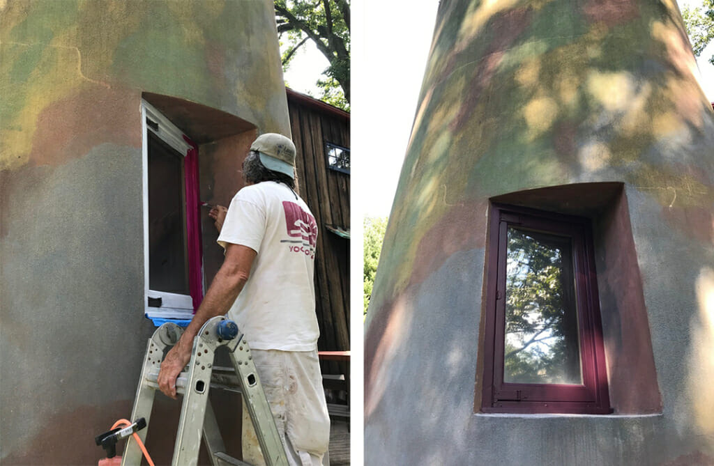 left image shows man in white t-shirt on a ladder painting a window frame. Right image shows the finish window with a plum colored frame. The window is deeply set into a concrete and stucco wall with mottled blue, green, brown, and yellow colors and dappled in afternoon light.
