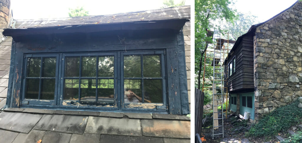 left image of blue dormer window with rotting sill, right image shows stone wall of studio building with tall scaffolding up to the roof and dormer window