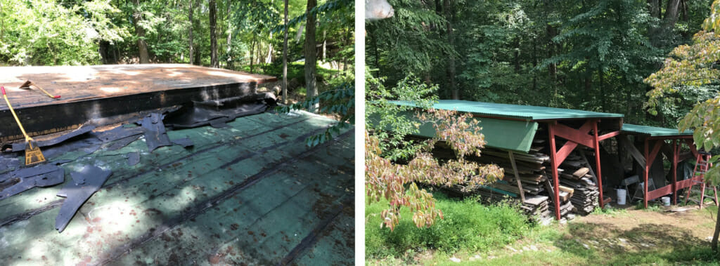 The left image shows a worn-our and pine-needle-covered asphalt roof. The right image shows the new green roof on the woodshed which is painted red and surrounded by the woods.