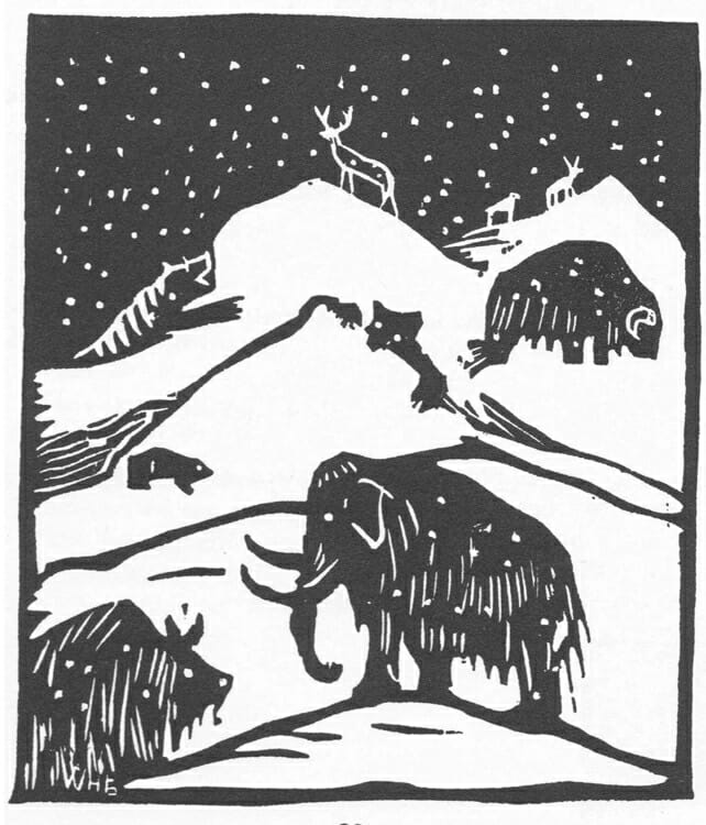 playful black and white woodcut illustration of wooly mammoth and other prehistoric animals on snowy hills