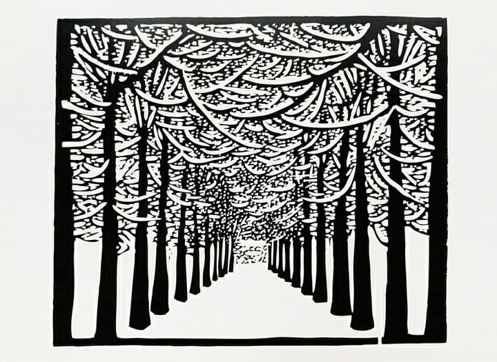 blick and white woodcut print of snowy tree-lined driveway