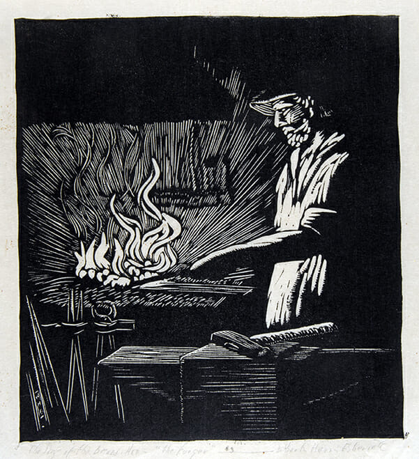 black and white woodcut depicts man at right illuminated by flames in a forge