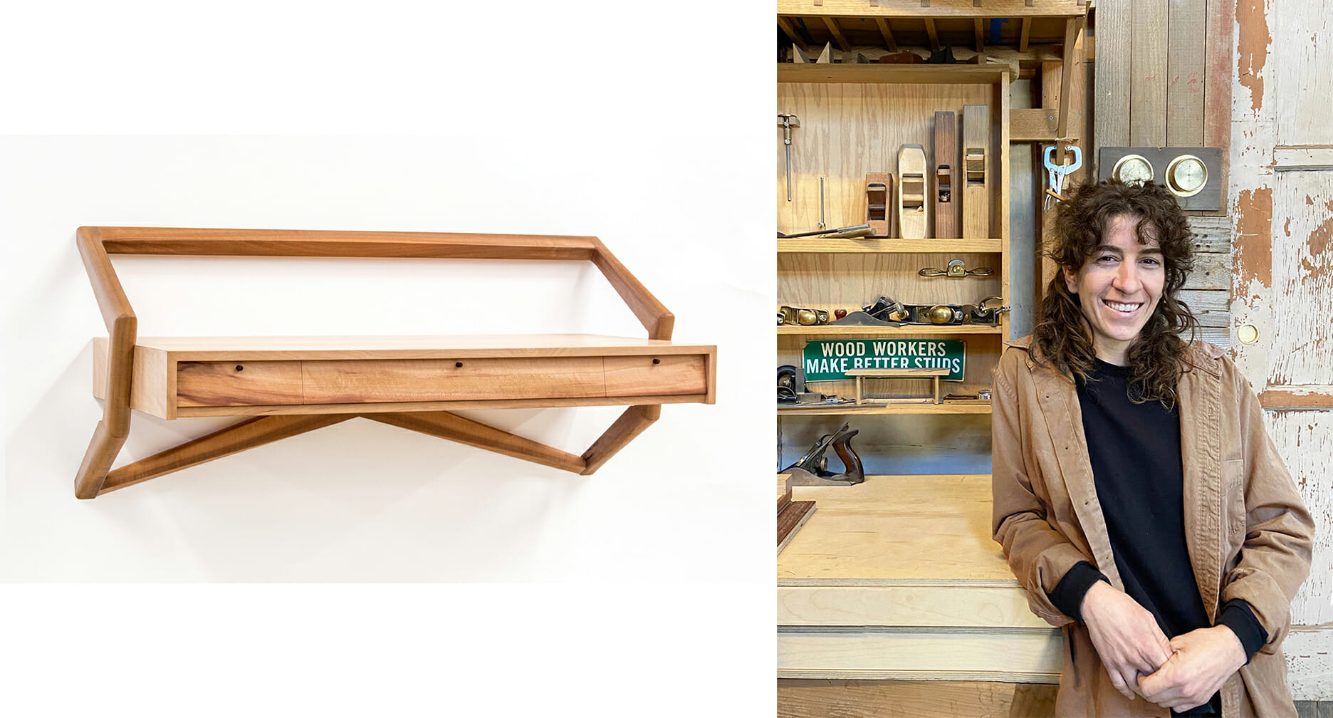 on the left os a photo of a wall hung desk with three slender drawers and slender wood brackets that support the desk; on the right is a woman with brown curly hair leaning on a worktable with woodshop tools on the wall behind her.