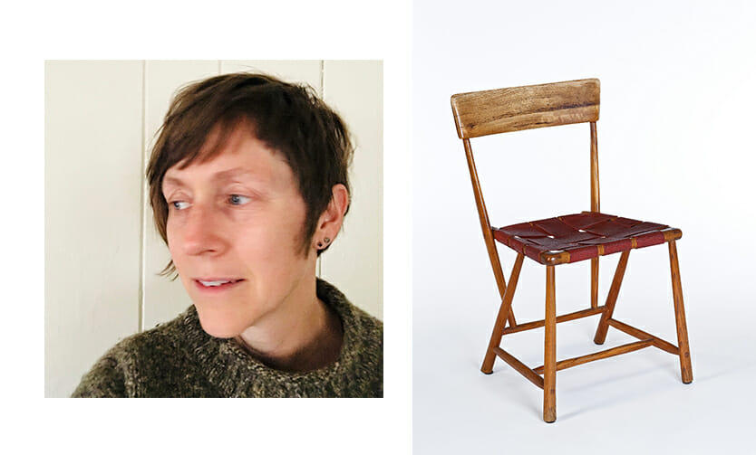 Woman with short hair wearing green sweater and head turned to the left in the left image. right image shows a wooden chair with woven red canvas seat