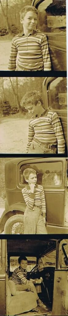 four photos of an adolescent boy near an old car.
