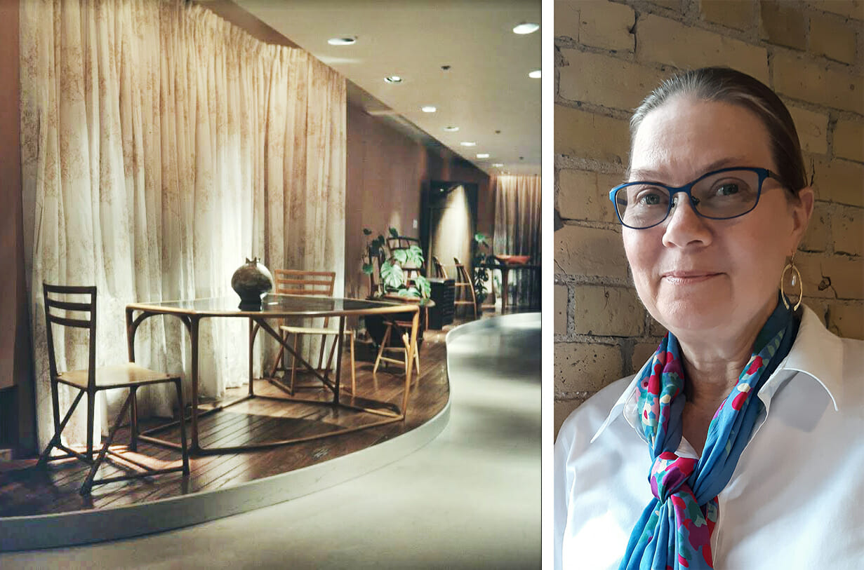 two photos: on the left is a archival photo of a furniture exhibit, on the right is a woman with a white shirt and a colorful scarf. Her hair is in a pony tail, she is wearing glasses and smiling at the viewer.
