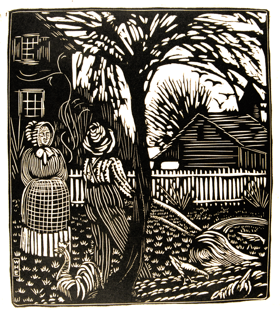 woodcut print of a man and woman standing on a farm with chickens around them and a house and fence in the distance